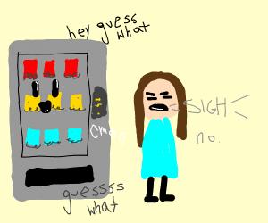 Speaker/vending machine annoying a lady