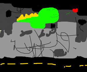 dinosaur happily destroys a city