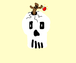 a skull with a live twig holding a potion
