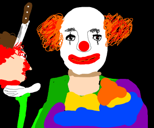 Creepy clown with a dead human head in a red