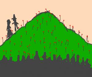 Pilgrims climb flower mountain