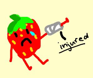 Injured strawberry