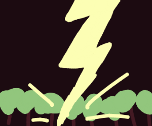 Lightning striking in a forest