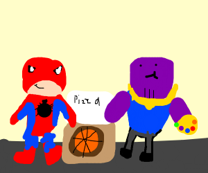 spiderman has pizza with thanos :)