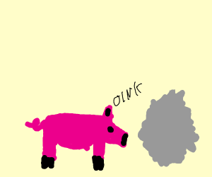 Pig oinks at gray dot