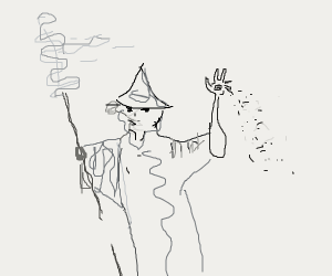 Wizard casts a spell with hand