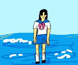 anime girl on the ocean