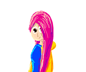 girl with pink hair and a yellow jacket