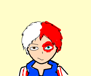 Anime boy in blue jacket with half white red