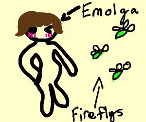 Emolga winks as the fireflies dance