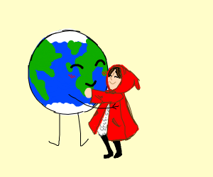 little red riding hood hugging the earth