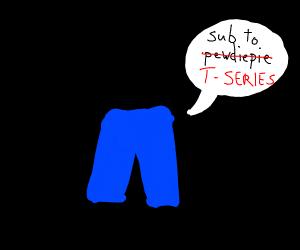 a pair of pants saying sub 2 pewdiepie