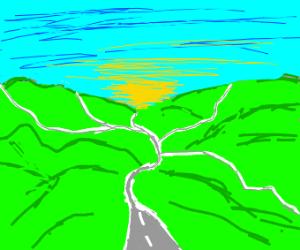 many roads on hills