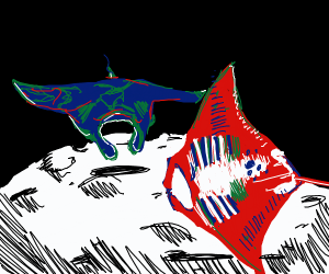 Two Manta rays on the moon