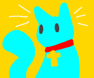 A blue cat with a cross around its neck