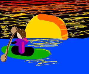 Guy sailing the ocean in a canoe