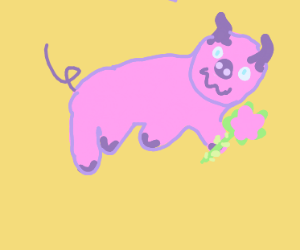 Pig Laying Down Holding A Rose And Blushing