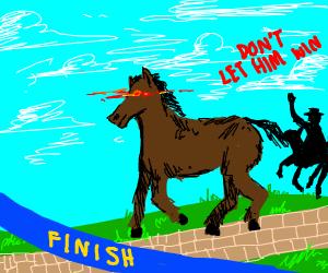 Evil horse wins race