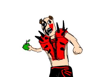 Hawk eating an Apple