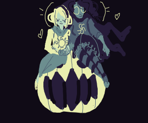 two witches holding hands on top of a jack o
