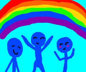 blue men infront of a rainbow