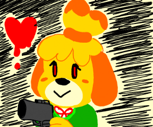 Isabelle (from Animal crossing) with a gun