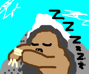 Giant sloth burrowing a cave in a mountain