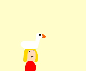 Girl with white goose on her head