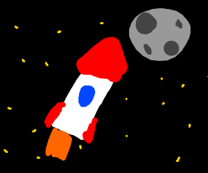 A rocket going towards the stars and moon