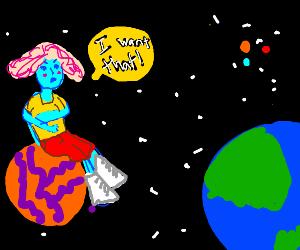 Blue space woman envies planet earth