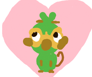 Parrot/Monkey Sitting in a Pink Heart