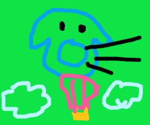 blue kirby riding hot air balloon