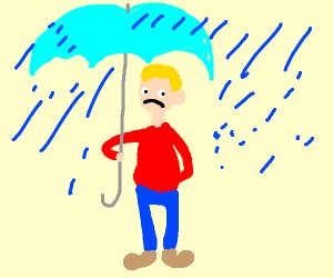 Guy is sad because his umbrella blocks rain
