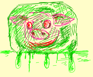 pig head enveloped in unholy green slime