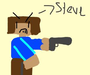 minecraft man with a gun