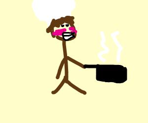 a cute brown hair anime chef boy cooks