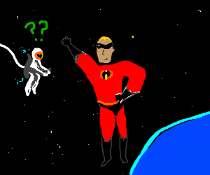 Spaceman is confused by superhero in space