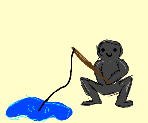 Guy squats while fishing