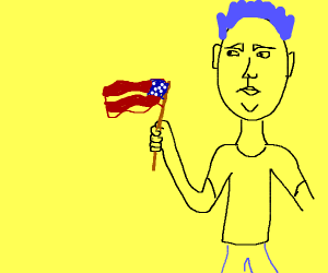 Blue haired yellow guy is a patriot