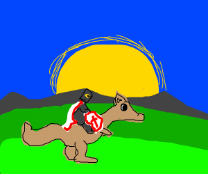A knight riding a kangaroo/donkey