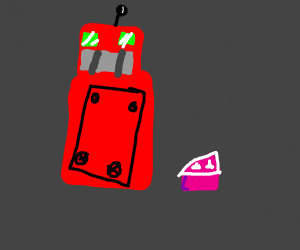 robot with cake
