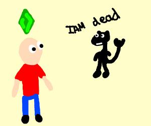 black devil-cat telling a sim she's dead