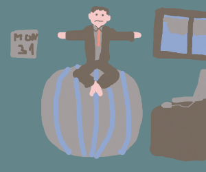 Office worker sitting on yoga ball