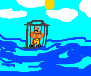 Prisoner stuck in cage floating in ocean.
