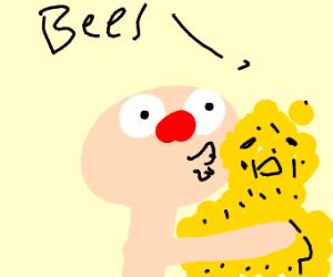 Hairless Yellmo kisses guy made of bees