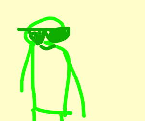 green guy with green glasses