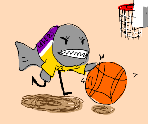 Piranha with legs is player 23 of the Lakers