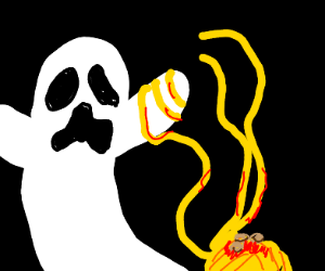 Ghost scared of spaghetti