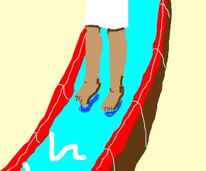 Jesus on a waterslide
