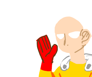 One Punch Man waves hello